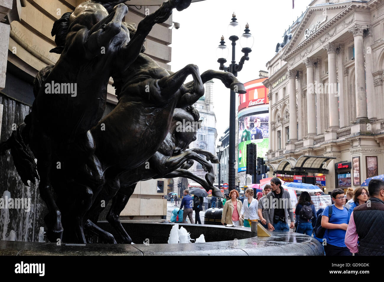 London Piccadilly Circus.Statues of The Horses of Helios, also known as The Four Bronze Horses of Helios a London - Stock Image