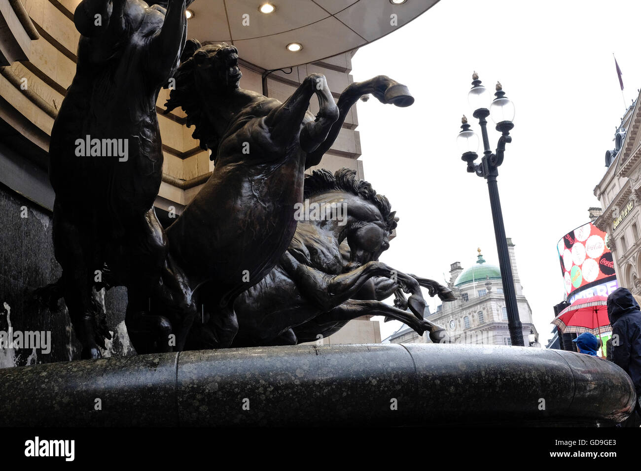 London Piccadilly Circus .Statues of The Horses of Helios,London landmark, also known as The Four Bronze Horses - Stock Image