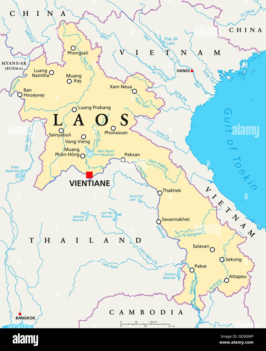 Thailand Political Map Capital Bangkok Stock Photos Thailand