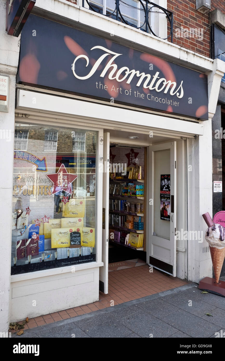 Brentwood UK. Thorntons Toffee retail store on a High Street in Brentwood Essex England - Stock Image