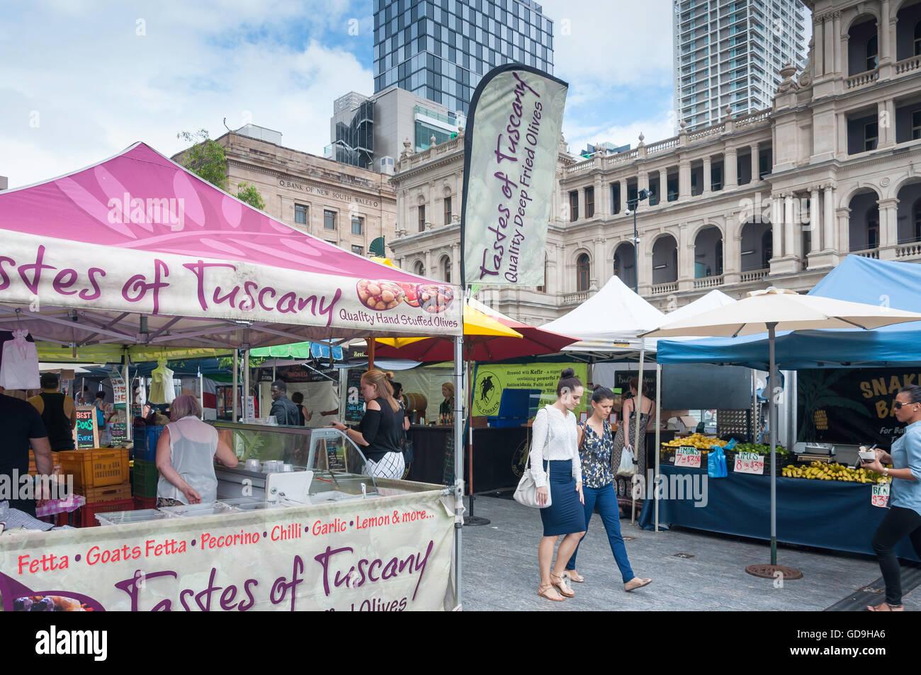 Farmer's Market, Brisbane Square, Brisbane City, Brisbane, Queensland, Australia - Stock Image