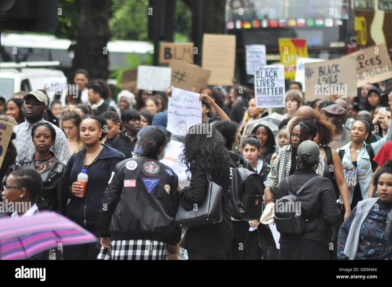 Scenes for Oxford Street at th Black Lives Matter U.K protest as thousands of people gathered and marched in solidarity. - Stock Image
