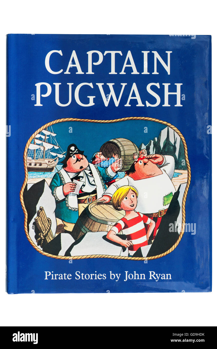 A Captain Pugwash book by John Ryan on a white background - Stock Image
