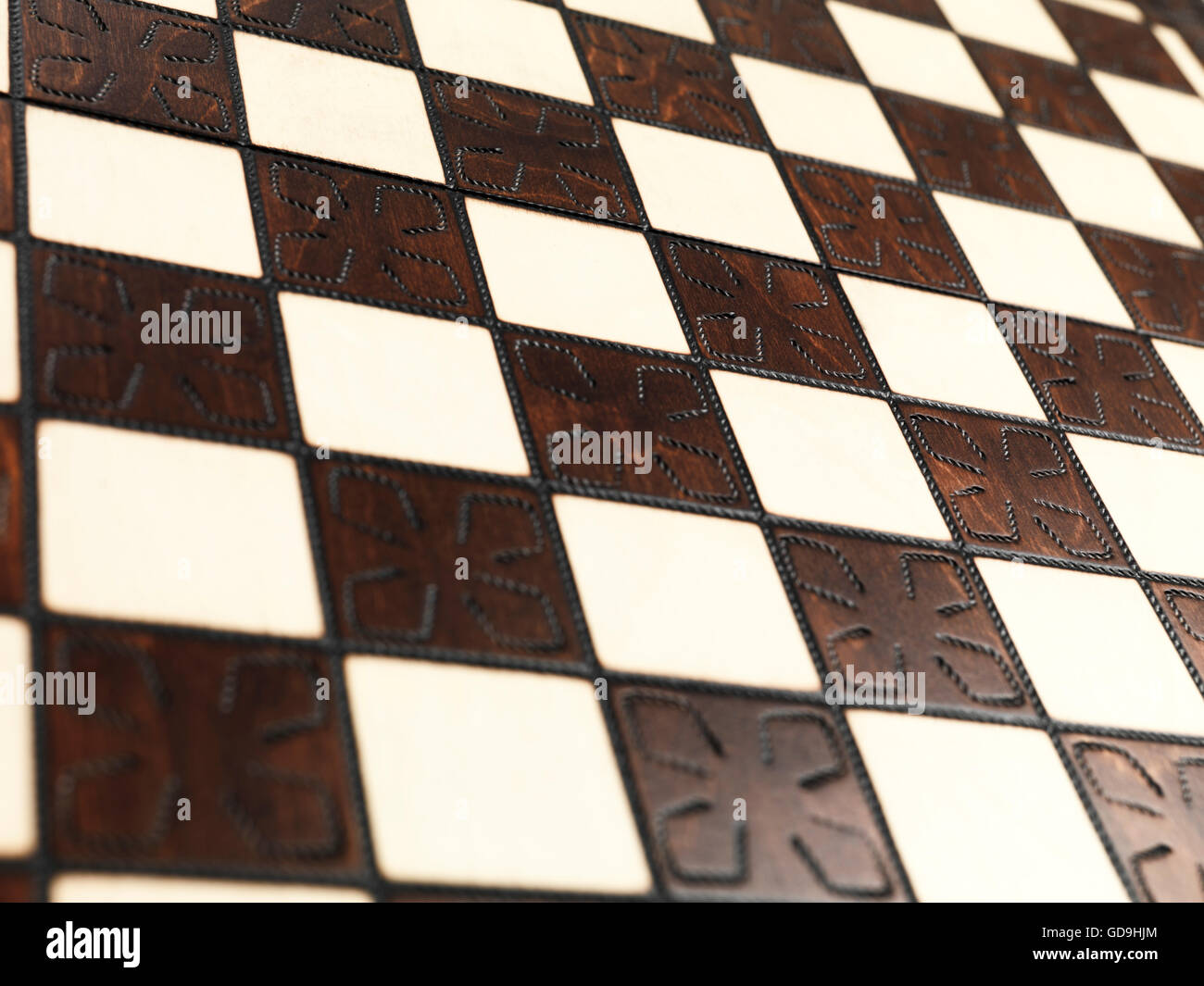 Closeup of a chessboard - Stock Image