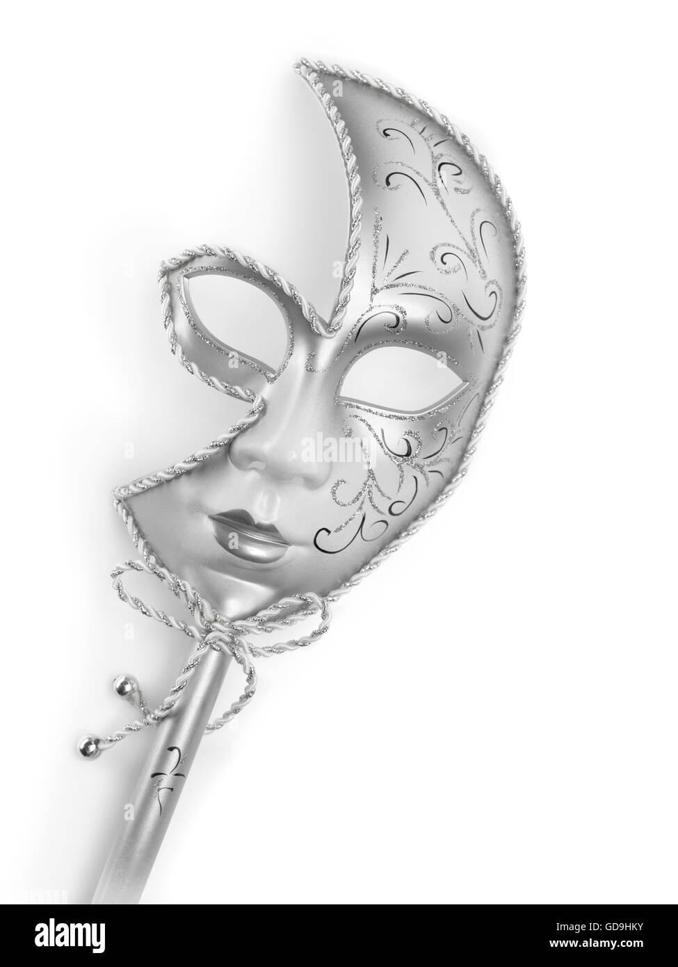 Silver Venetian mask - Stock Image