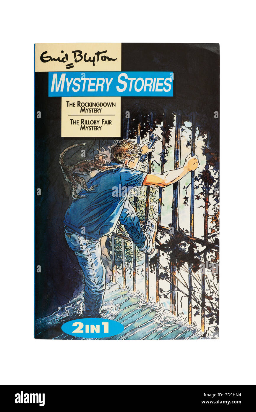 A Mystery stories book by Enid Blyton on a white background - Stock Image