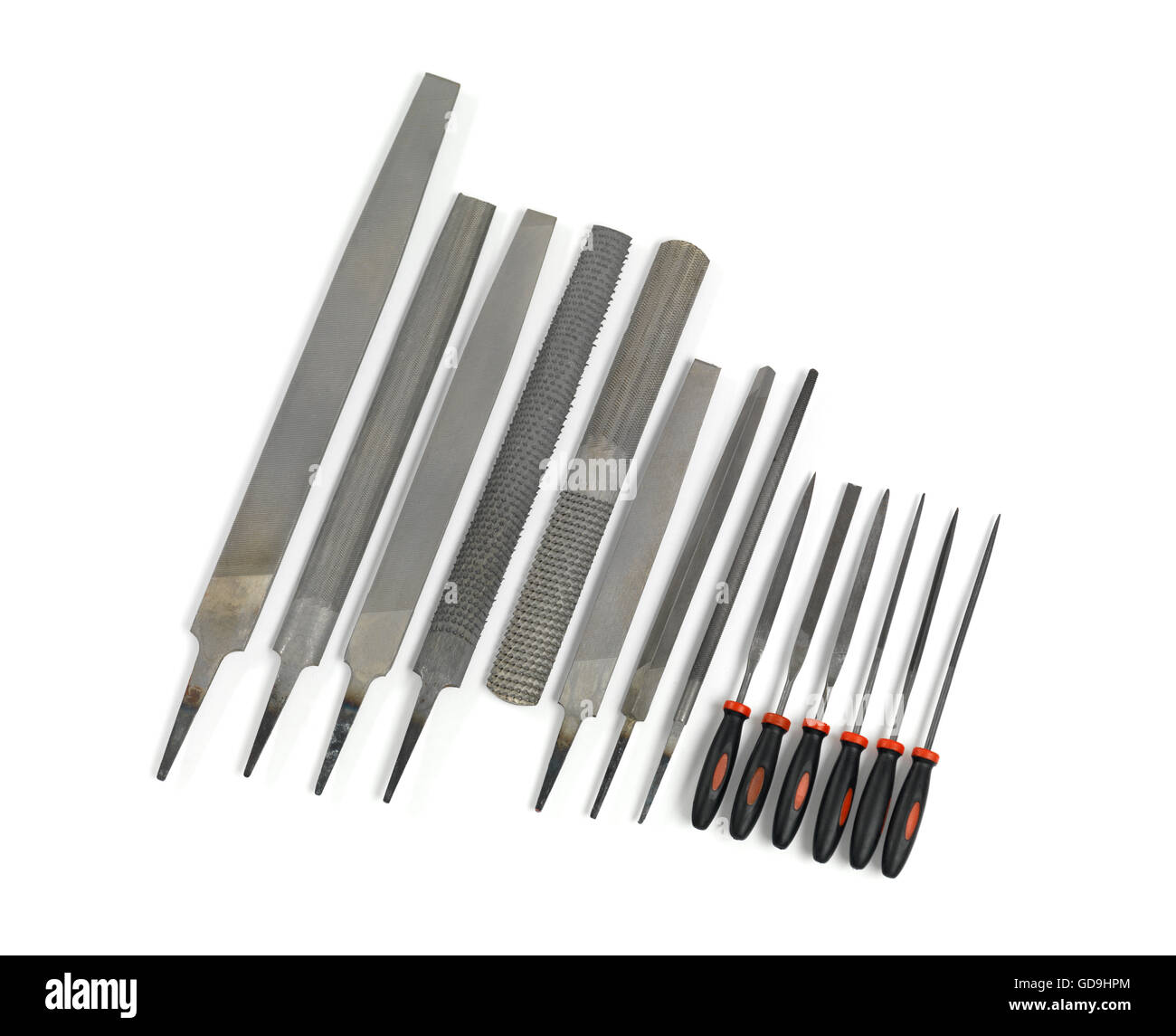 Set of hand files and needle files - Stock Image
