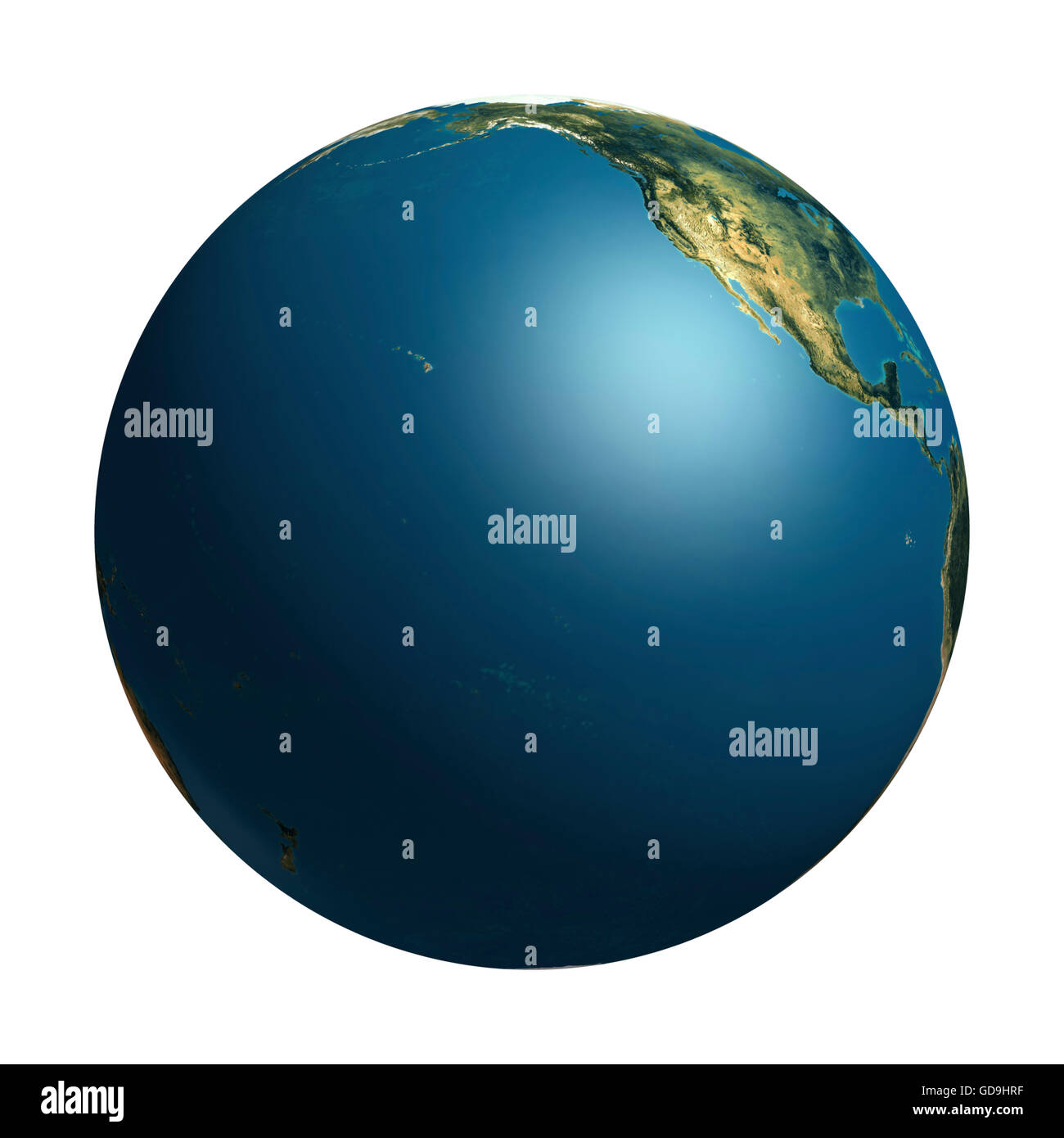 View of the Earth globe from space showing the Pacific Ocean and a part of the North American continent, 3D graphics - Stock Image