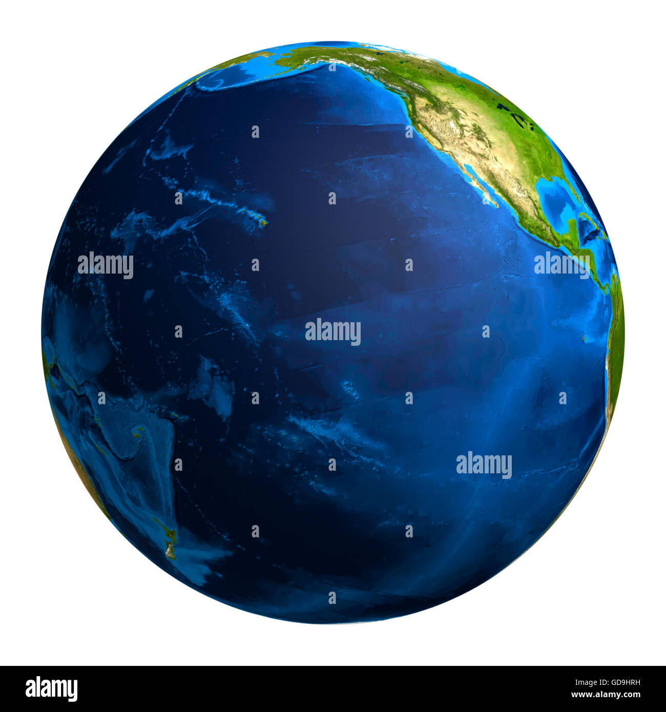 Earth globe showing the Pacific ocean and a part of the North American continent, 3D illustration - Stock Image