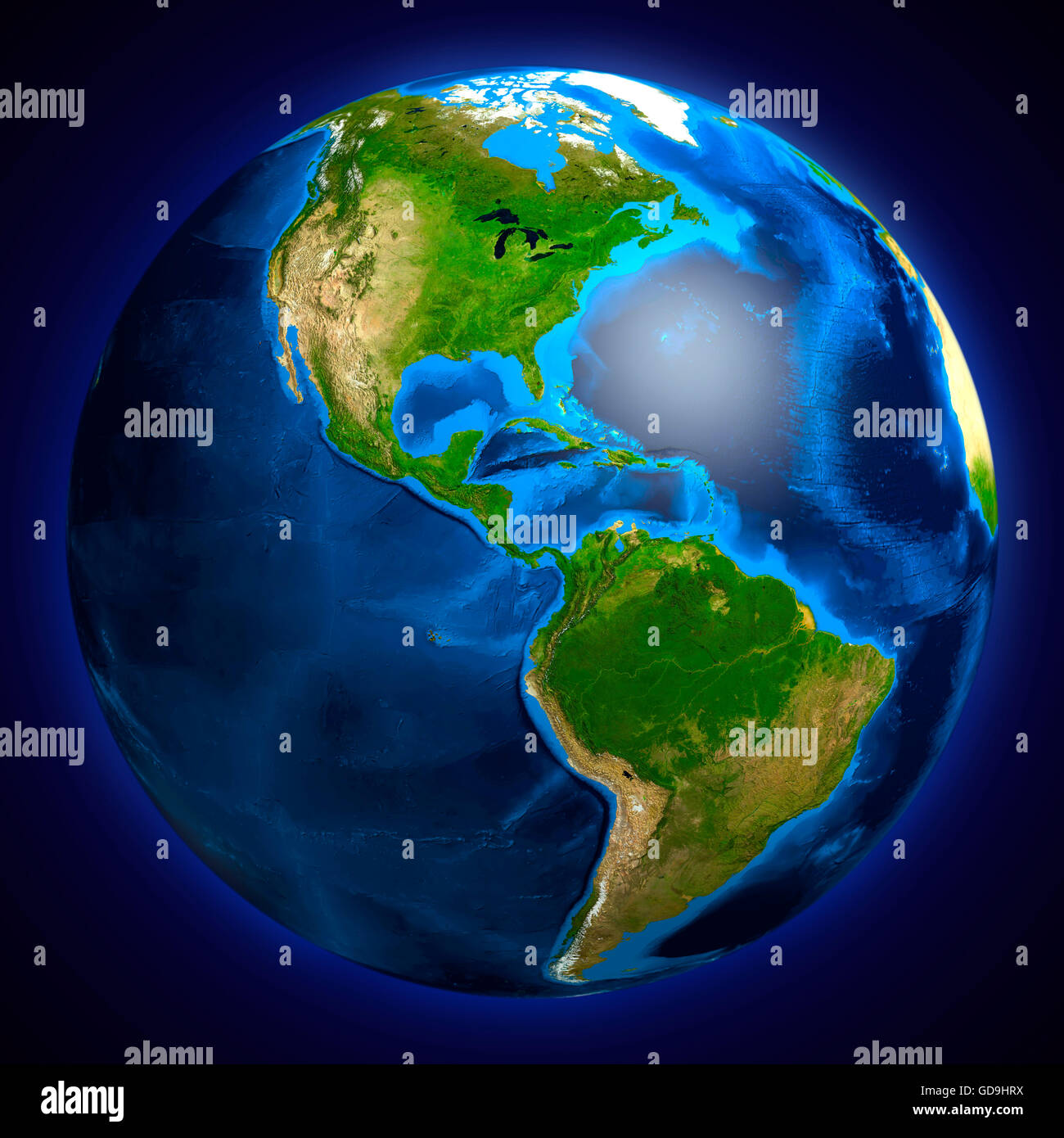 Earth globe showing South and North American continents, 3D illustration - Stock Image
