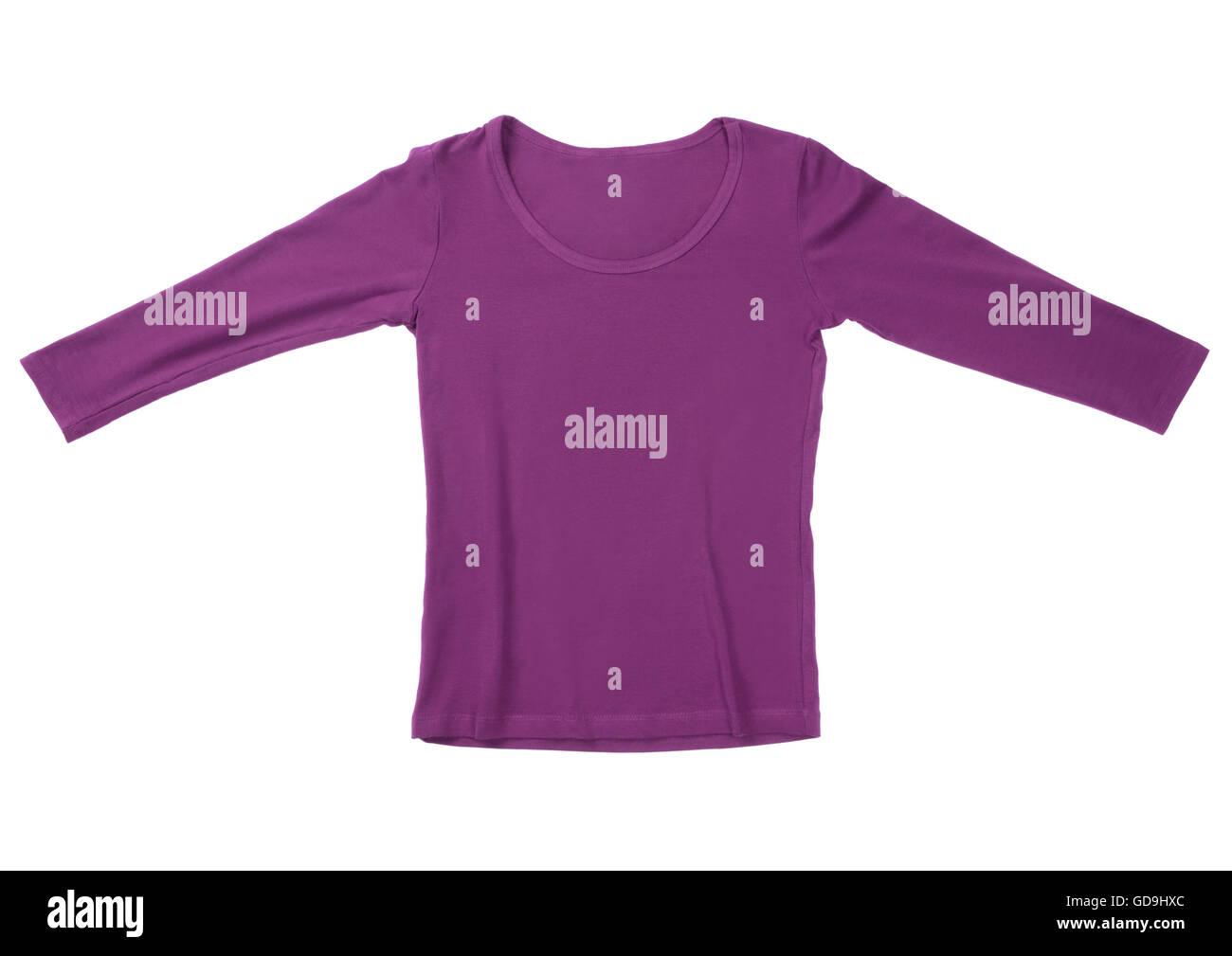 Purple long-sleeve T-shirt - Stock Image
