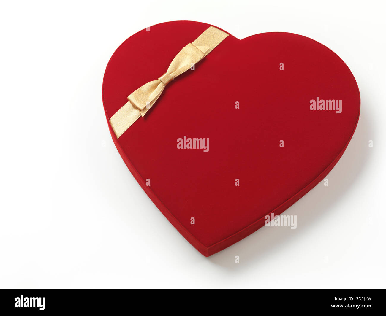 Red heart-shaped gift box Stock Photo
