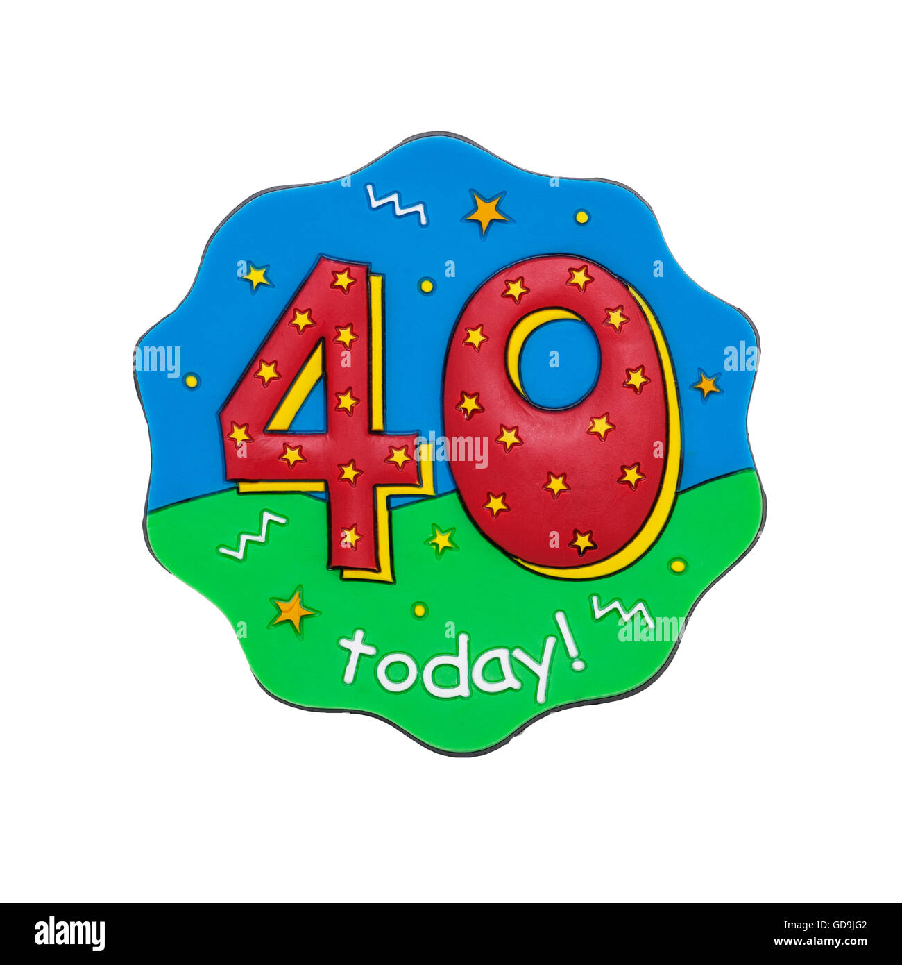 A 40 today birthday badge on a white background - Stock Image