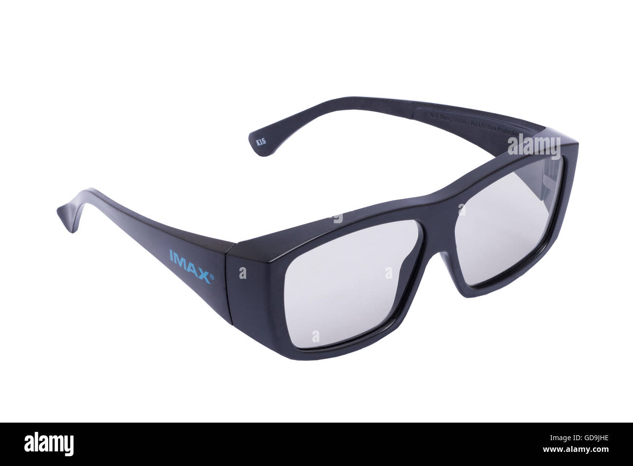 A pair of imax 3d cinema glasses on a white background - Stock Image
