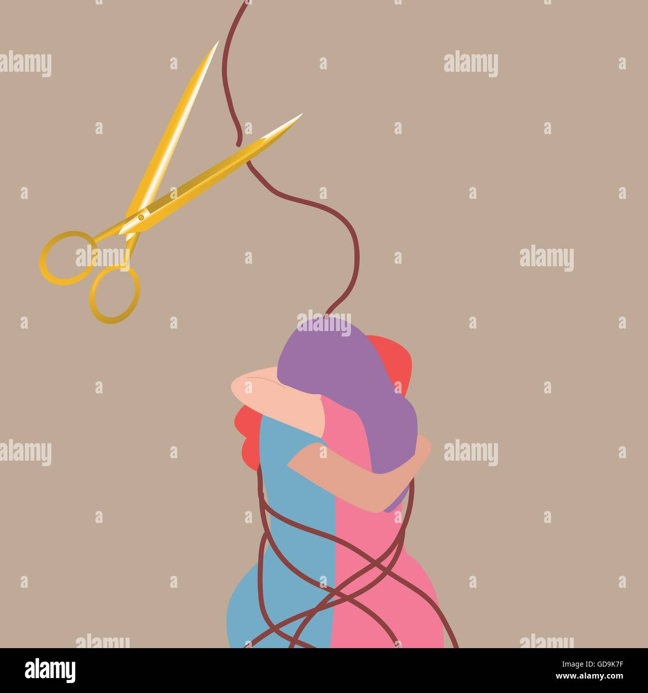 best friend forever two girls hug each other scissor cut rope stock