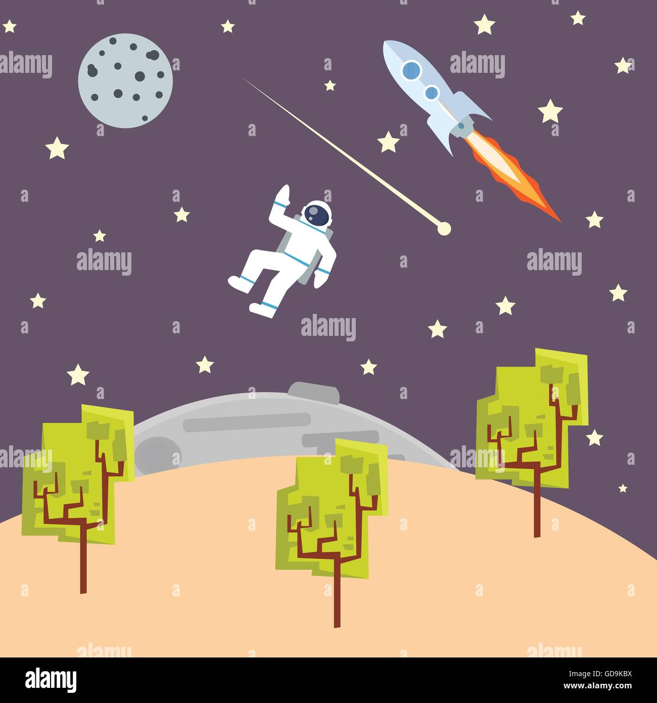 Outer Space Illustration Kids Style With Spaceman Rocket Ship Stock