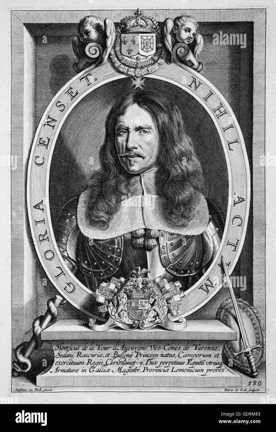 HENRI de la TOUR d'AUVERGNE, Vicomte de Turenne (1611-1675) French army commander and Marshal of France. Engraving - Stock Image