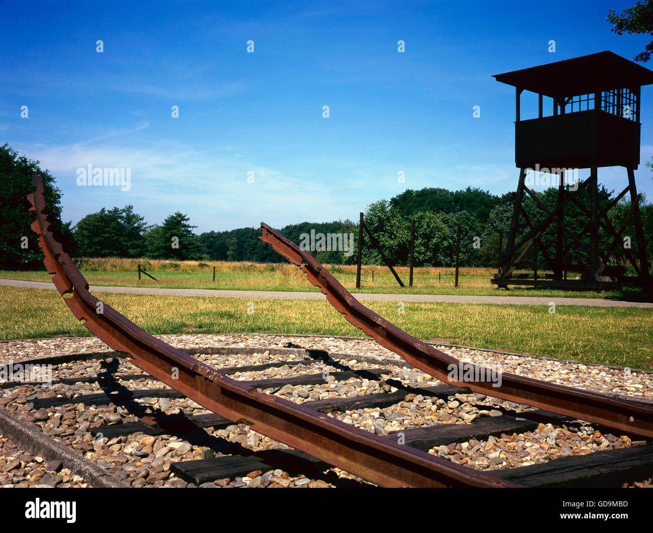 This was during the second World War the railway to Durchgangslager Westerbork Stock Photo