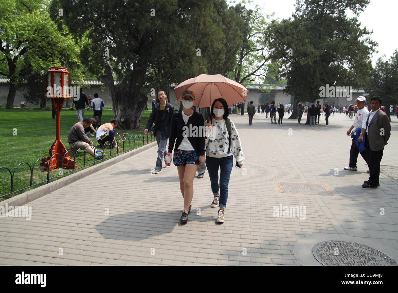 Two Chinese women walk under an umbrella covering their faces so they do not breath particles of pollution that - Stock Image