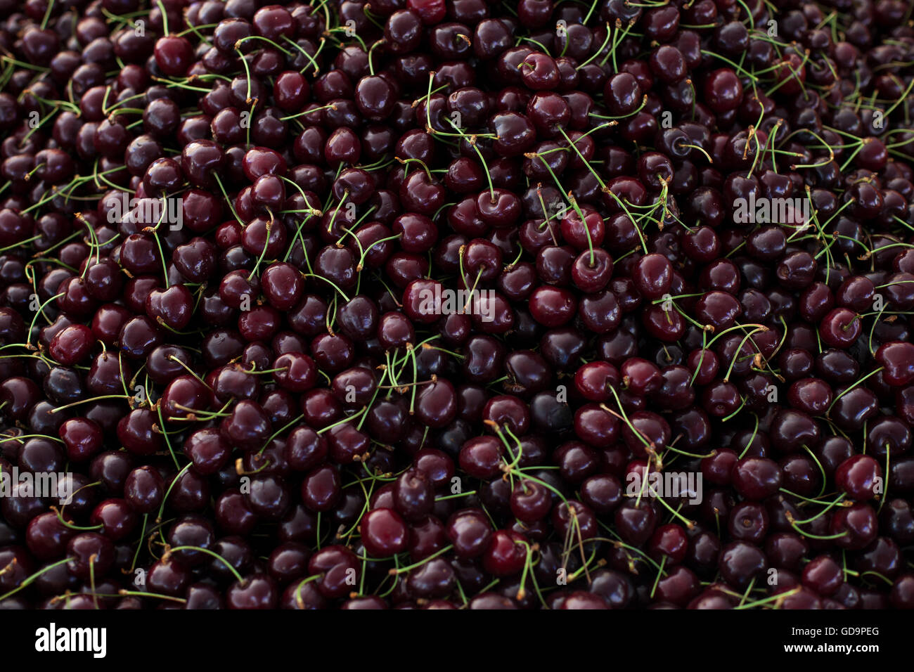 Fresh cherries at a market - Stock Image