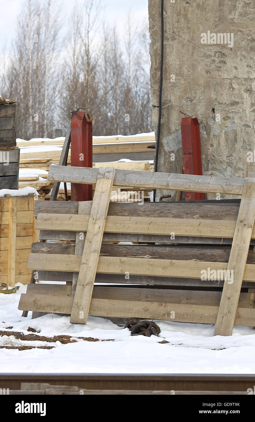 wooden planks for packaging of finished products at the production site - Stock Image