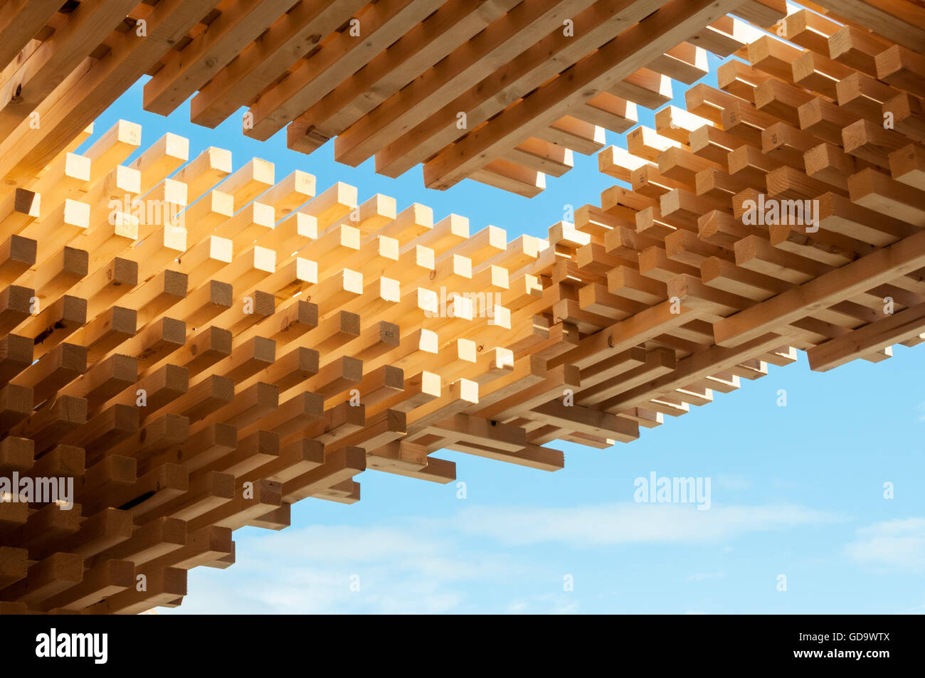 A detail of the Bergen Pavilion at Pop-Up Cities expo, part of the Edinburgh Festival of Architecture 2016. - Stock Image
