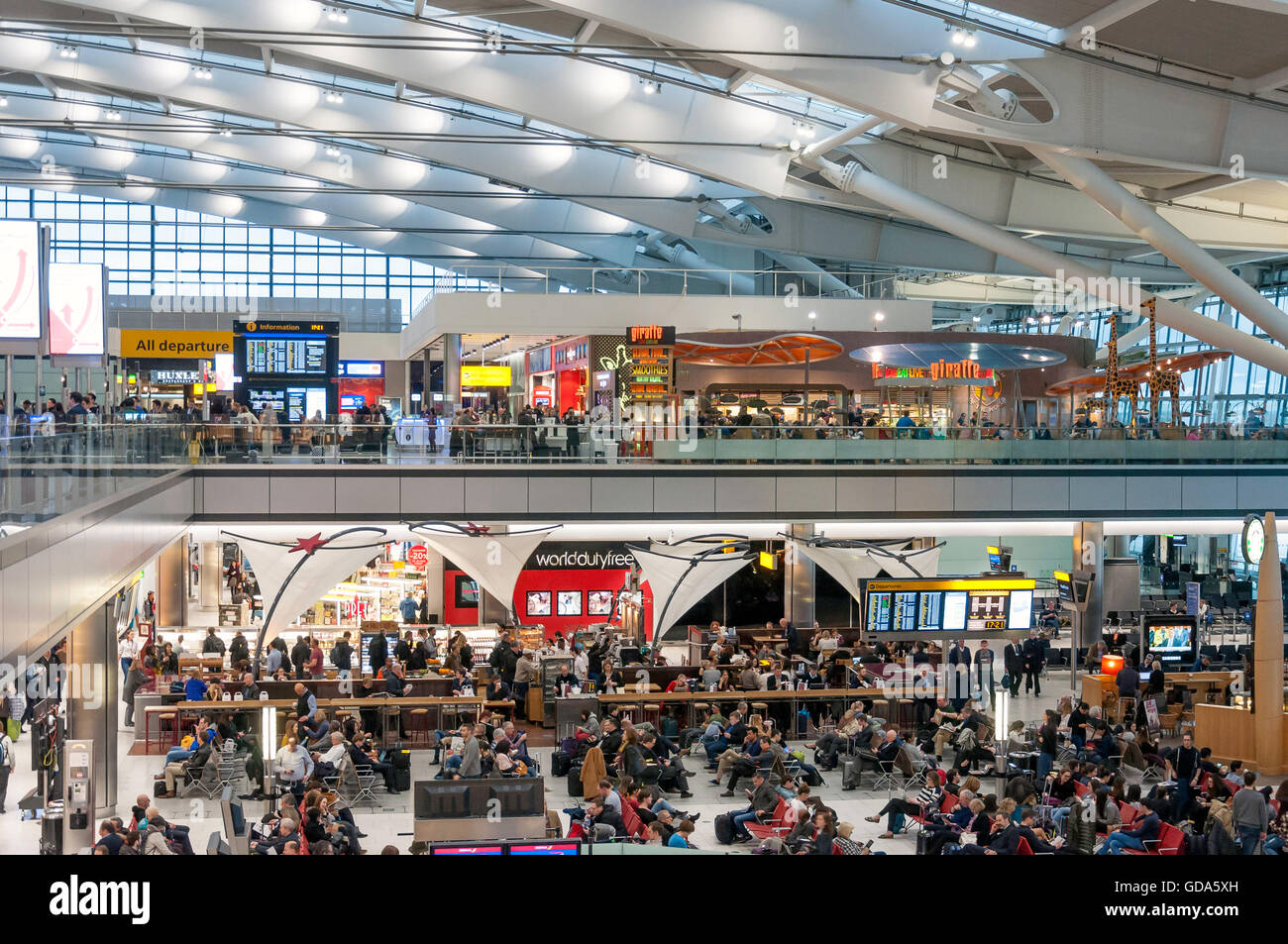 Departure Lounge at Terminal 5, Heathrow Airport. London Borough of Hounslow, Greater London, England, United Kingdom - Stock Image
