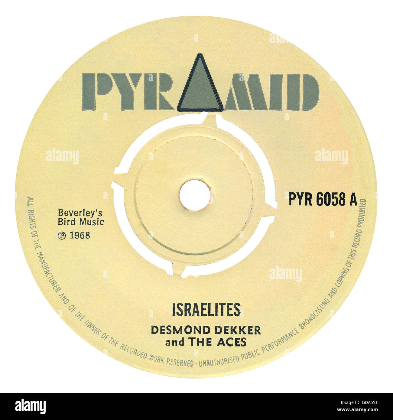 45 RPM 7' UK record label of the reggae song Israelites by Desmond Dekker and the Aces on the Pyramid label - Stock Image