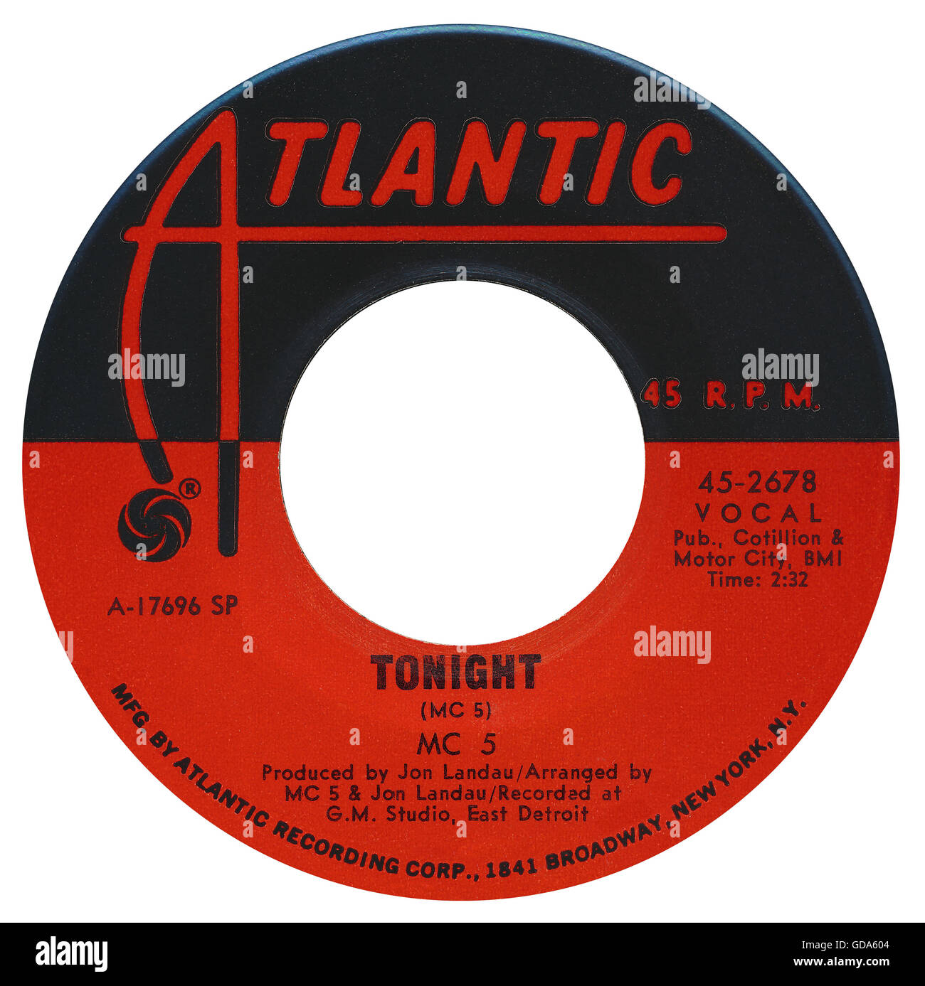 45 RPM 7' US record label of Tonight by The MC5 on the Atlantic label from 1969. - Stock Image