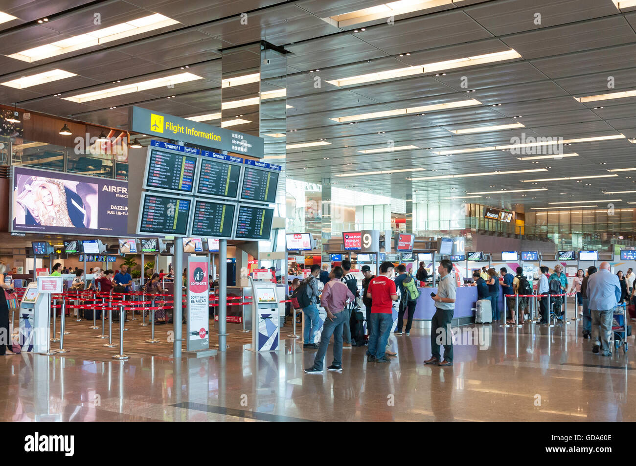 Check-in area in Terminal 1, Singapore Changi Airport, Changi, Singapore Island, Singapore - Stock Image