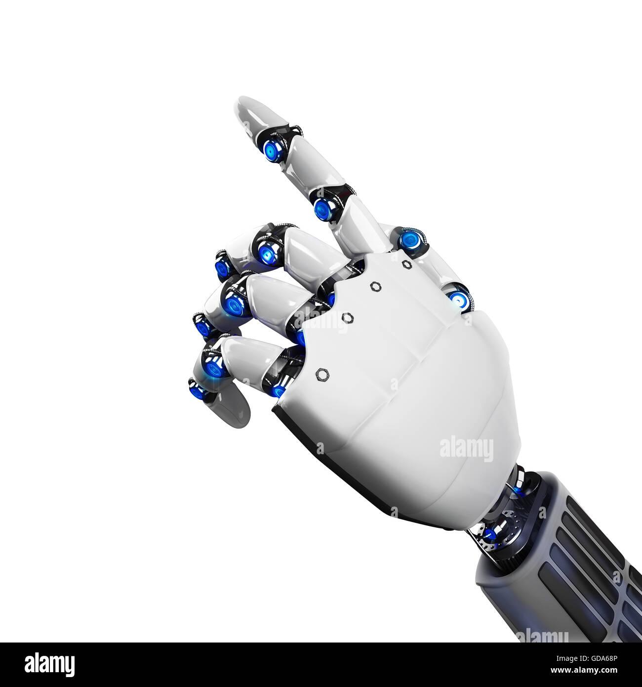 3D Rendering futuristic robot hand - Stock Image