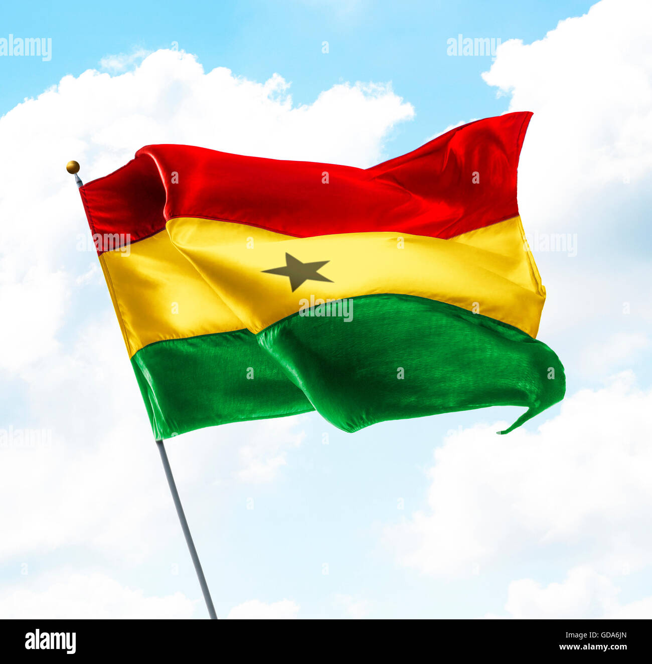 Flag of Ghana Raised Up in The Sky - Stock Image