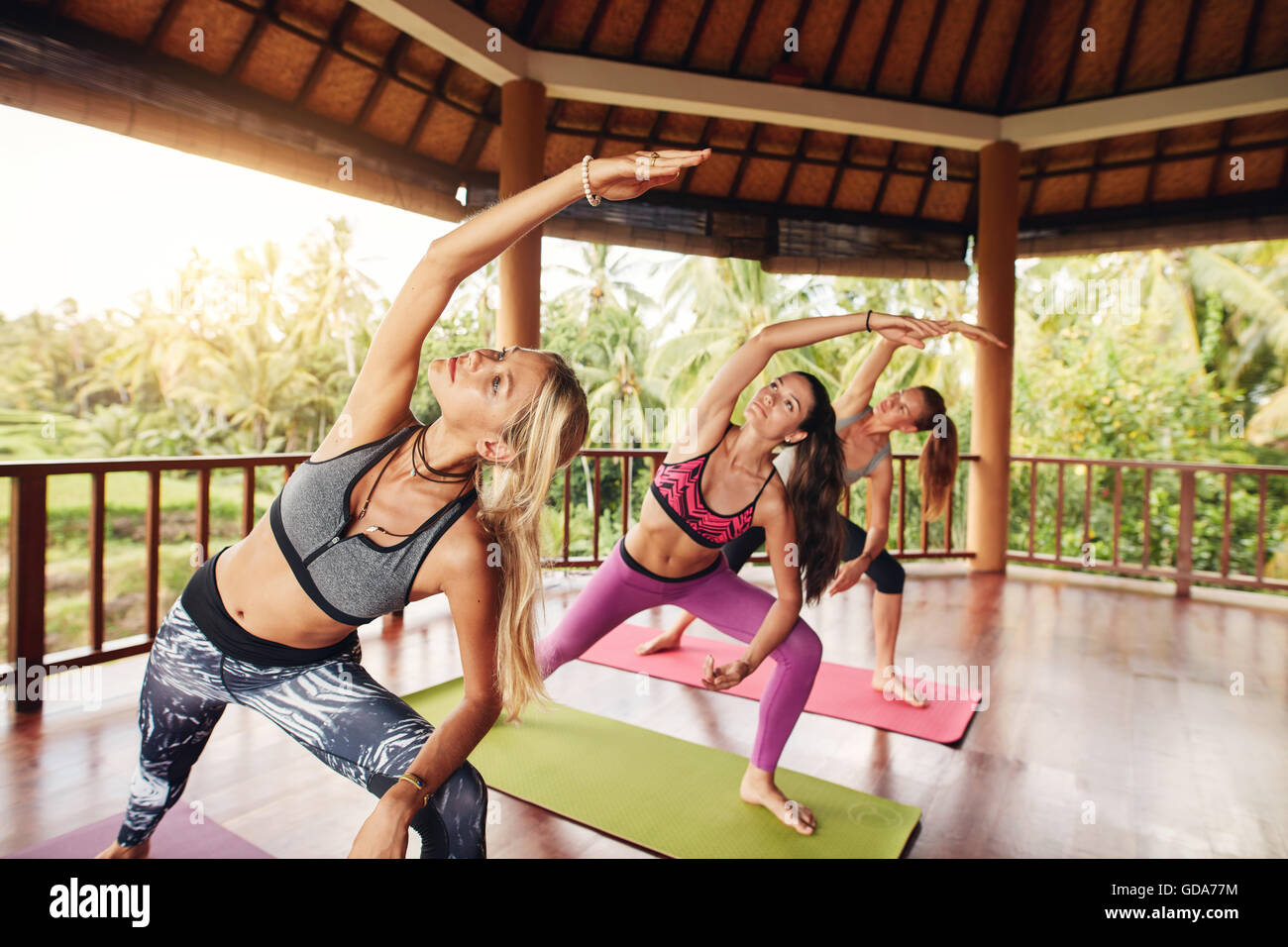 Yoga class with young women stretching arms. healthy group of females performing yoga together. - Stock Image