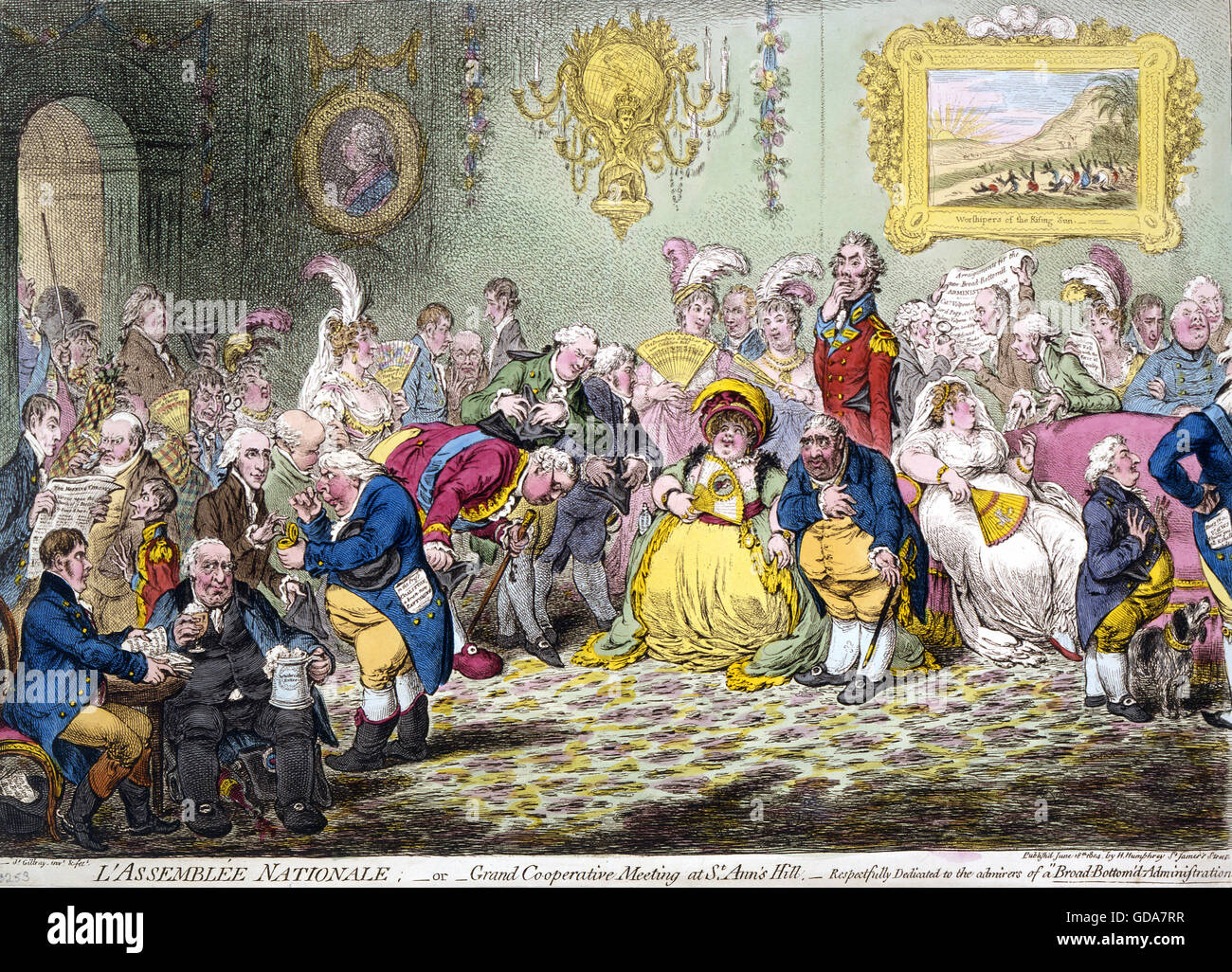 JAMES GILLRAY (1756/7-1815) English caricaturist. L'Assemblee Nationale (1804) - Stock Image