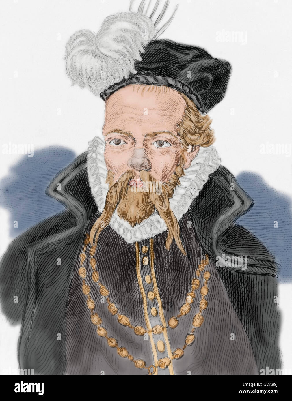 Tycho Brahe (1546-1601). Danish nobleman known for his astronomical and planetary observations. Portrait. Engraving. - Stock Image