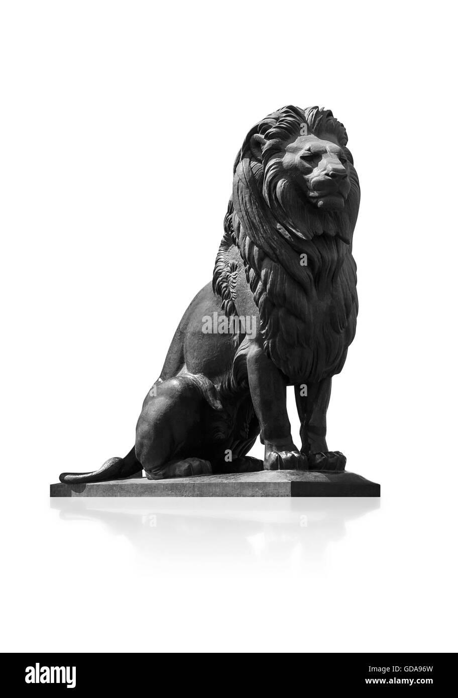 Qasr El-Nile Lion Statue Isolated on White Background - Stock Image