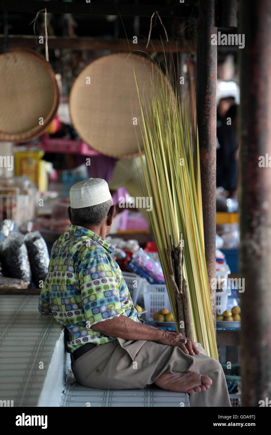 the market in the city of Bandar seri Begawan in the country of Brunei Darussalam on Borneo in Southeastasia. - Stock Image