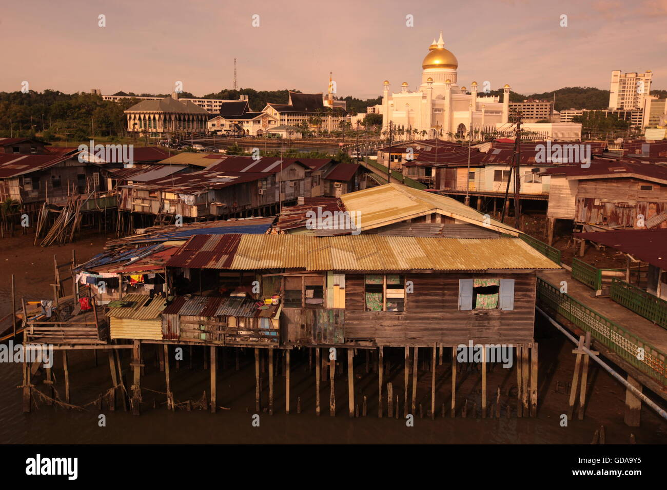 the water village and town of Kampung Ayer in the city of Bandar seri Begawan in the country of Brunei Darussalam - Stock Image