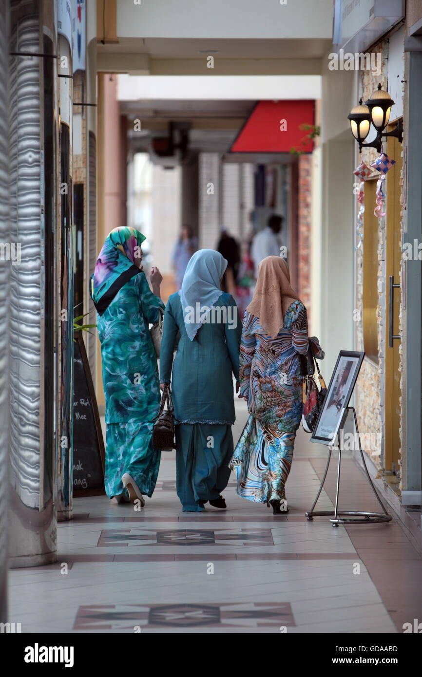 people shopping in the city centre in the city of Bandar seri Begawan in the country of Brunei Darussalam on Borneo - Stock Image