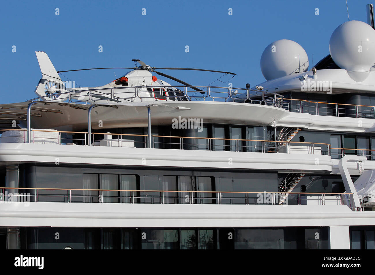 White helicopter in a luxury yacht - Stock Image