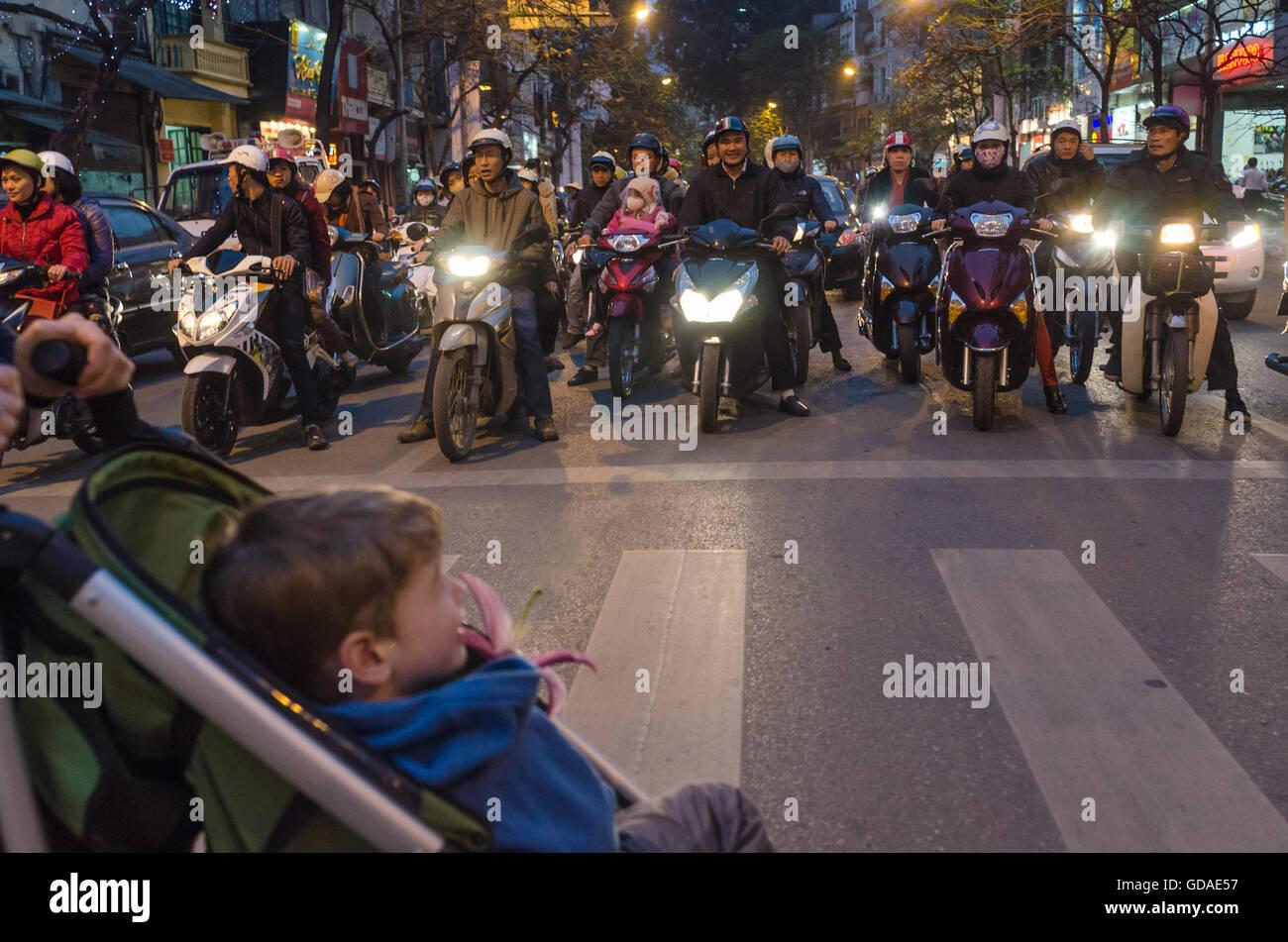 Vietnam, Hanoi, scooter on a zebras in Hanoi Stock Photo