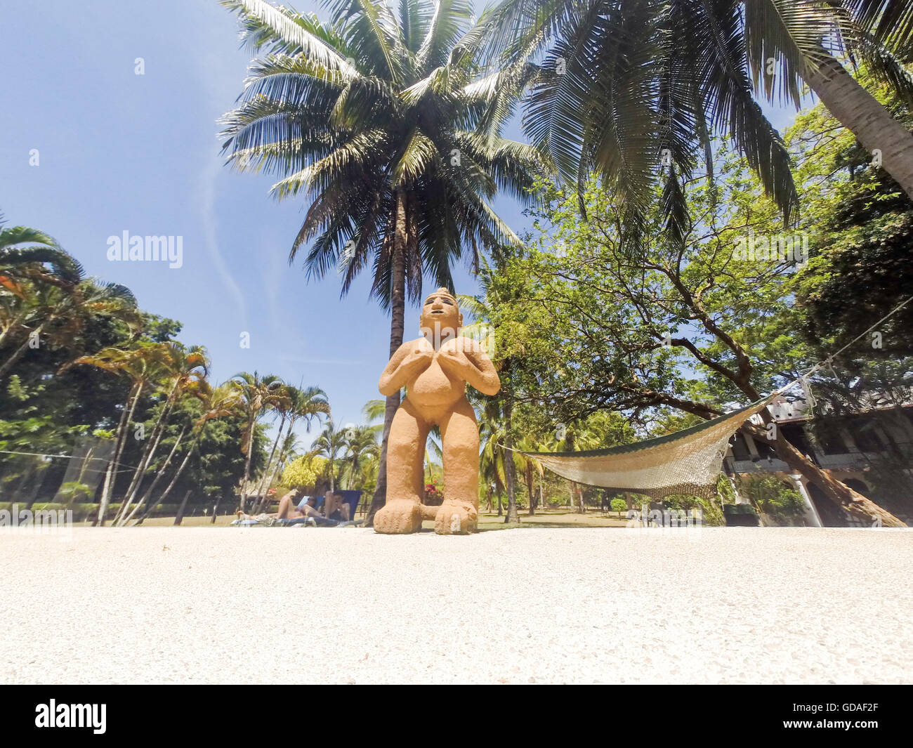 Costa Rica, Guanacaste, clay figure at the pool Stock Photo