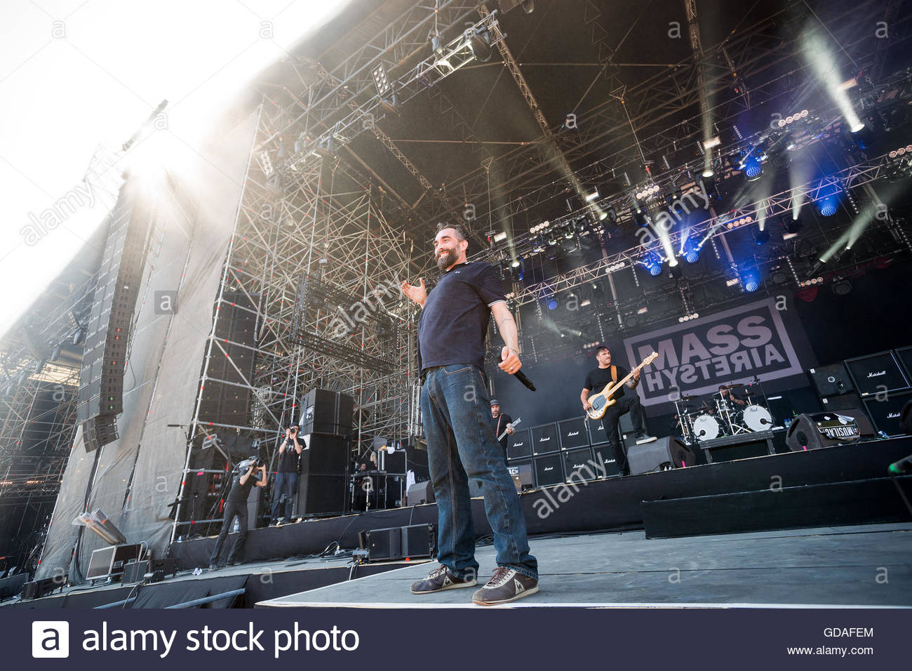 Mass Hysteria (French metal band) performing live - singer Mouss Kelai - Stock Image