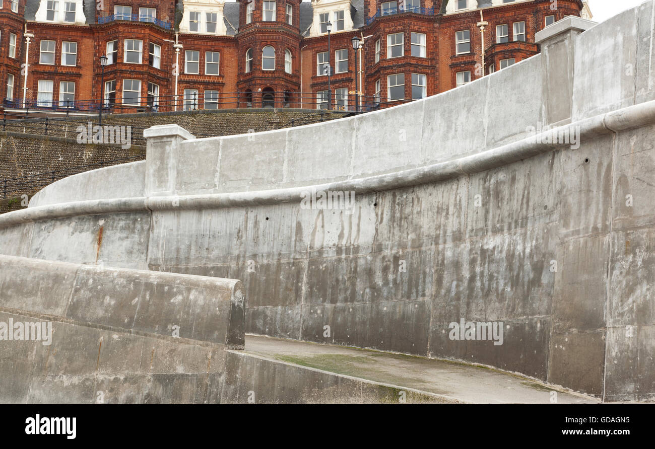 New (2016) concrete sea defenses along the promenade at Cromer, Norfolk, UK - Stock Image