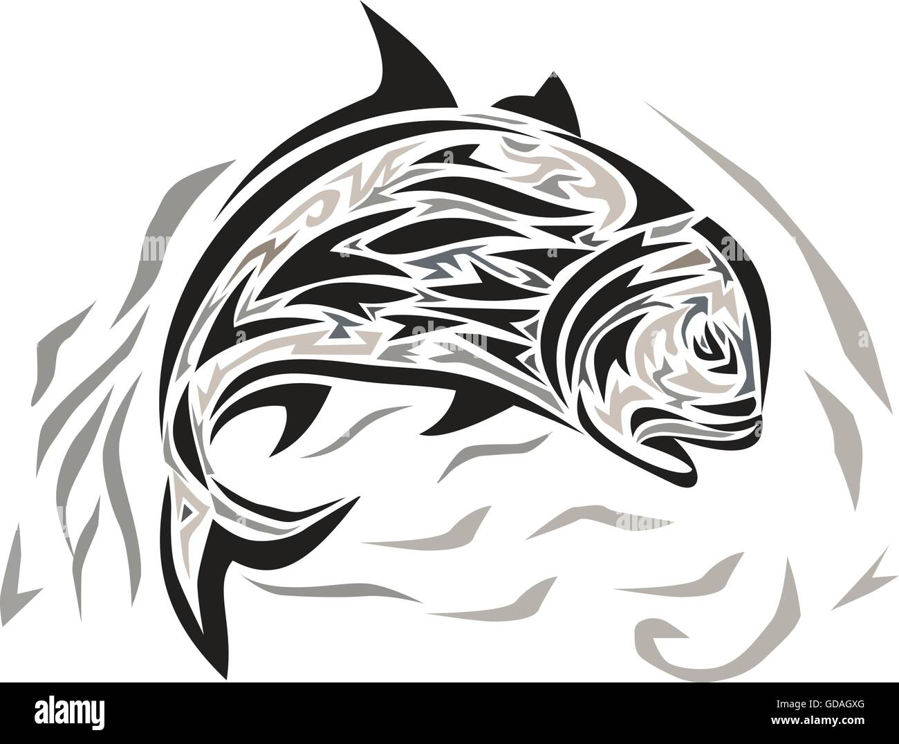 Tribal art style illustration of a giant trevally, Caranx ignobilis also known as giant kingfish, lowly trevally, - Stock Image