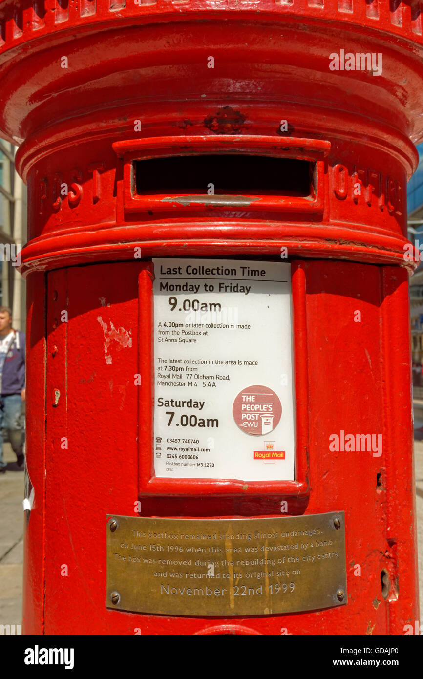Post box on Corporation Street, Manchester City Centre, which survived intact during an alleged IRA bombing in June - Stock Image