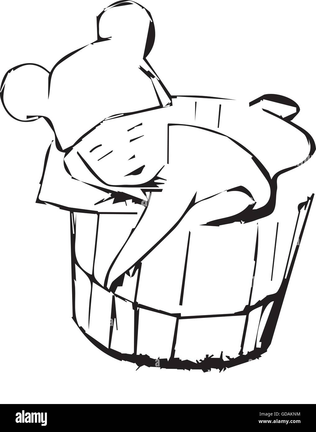 baby wearing a cap sitting in bucket - Stock Vector