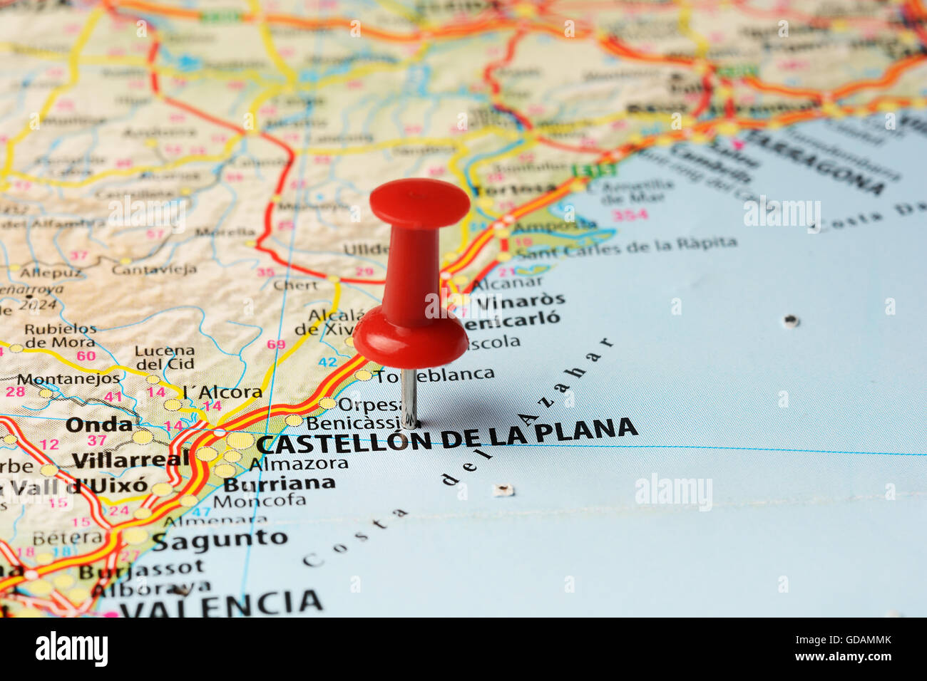 Close up of Castellon de la Plana , Spain map with red pin ,travel
