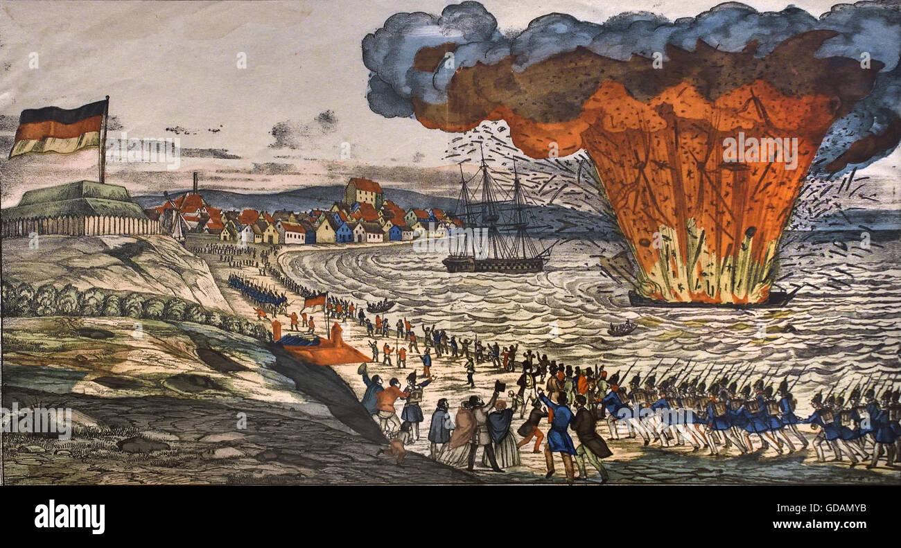 Sinking of the ship 'Christian VIII.' on April 5, 1849 Germany  ( Neuruppiner Bilderbogen: destruction of - Stock Image