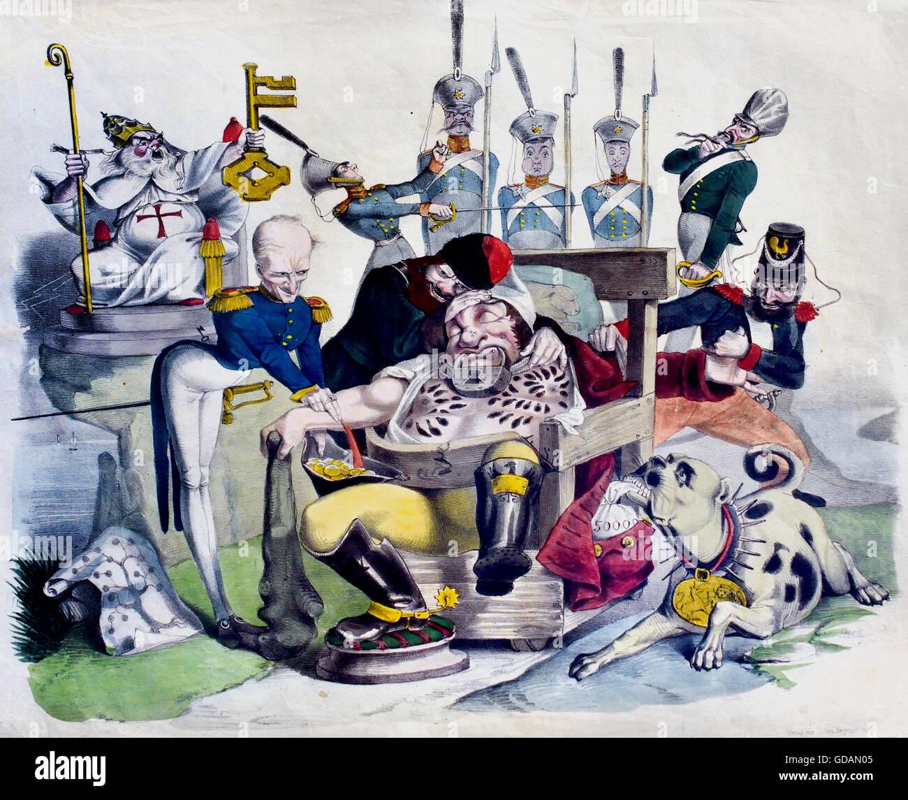 The Sleeping German Michel - Metternich  - caricature of the political awakening of Germany ( Seel, Johann Richard - Stock Image